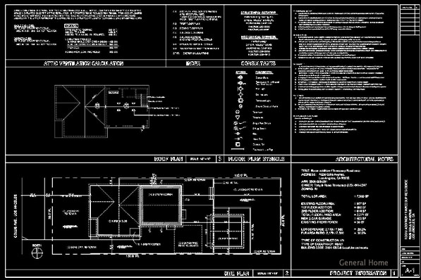 Los Angeles Room Addition AutoCAD Service Sample - Title, Site Plan & Roof Plan