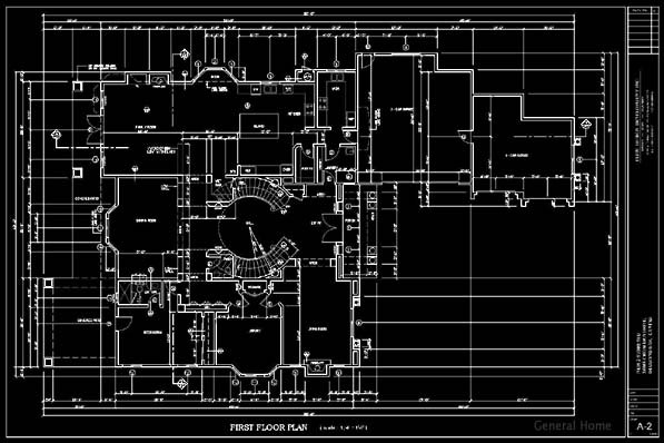 CAD Drafting Sample - 1st Floor Plan