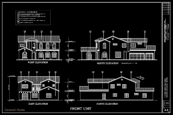 Front Elevation Of Residential Building In Autocad : Autocad drafting alhambra homes general home