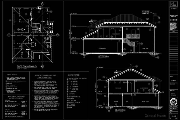 El Monte Drafting Sample - Sections & Roof Plan