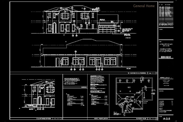 AutoCAD Outsourcing - Building Elevations & Roof Plan