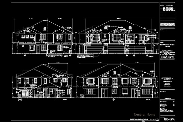 AutoCAD: residential building drawings, orthogonal projections