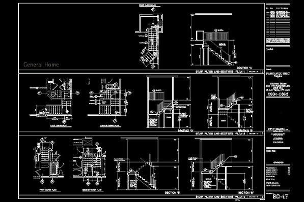 Las Vegas Condo Drafting Sample - Stair Plans & Sections